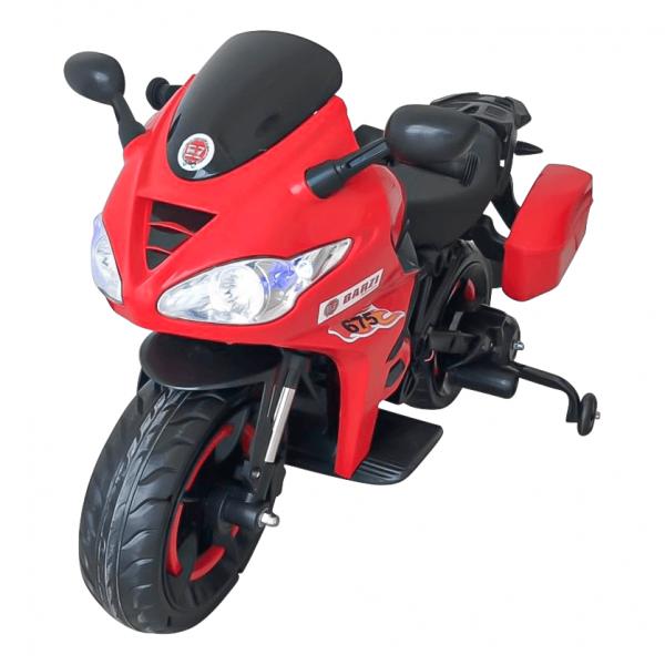 Moto Elétrica Infantil BZ R1 12V Vermelha com Rodinhas de Apoio, Música e Luzes BARZI MOTORS