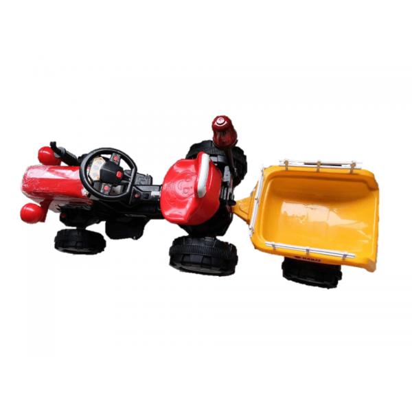 BZ Trator Elétrico Infantil Carro 6V 2 Motores de 380w Vermelho com Carreta Amarela BARZI MOTORS
