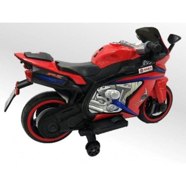 Moto Elétrica Infantil BZ R1 MODELO 2022 12V Vermelha com Rodinhas de Apoio, Música e Luzes BARZI MOTORS