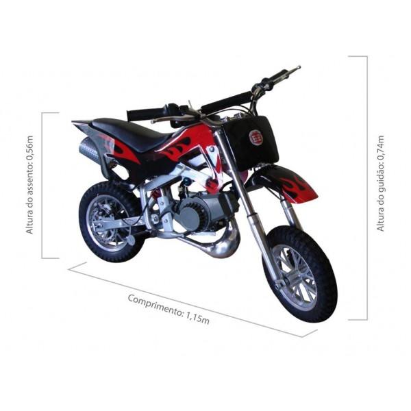 Mini Moto Cross 49cc BZ Fire a gasolina com óleo 2 tempos