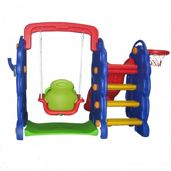 Playground 4x1 Escorregador, Balanço, Cesta de Basquete e Jogo de Argolas Playgrounds